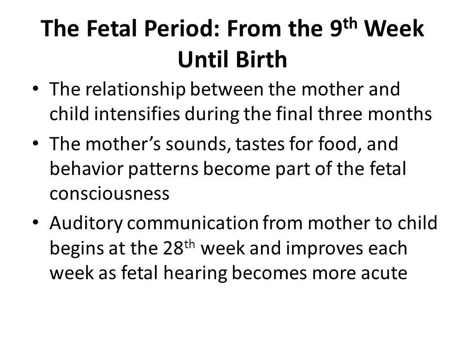 The Fetal Period: From the 9th Week Until Birth