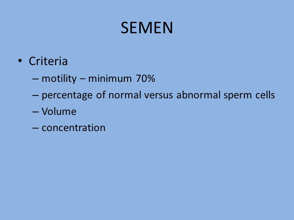 SEMEN Criteria motility – minimum 70%