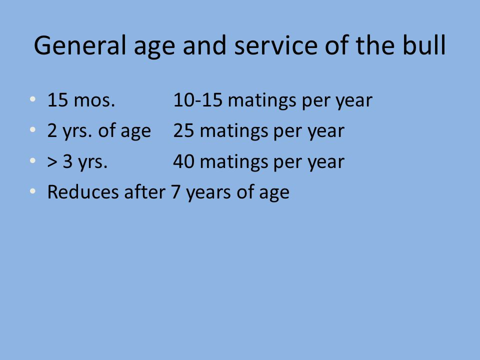 General age and service of the bull