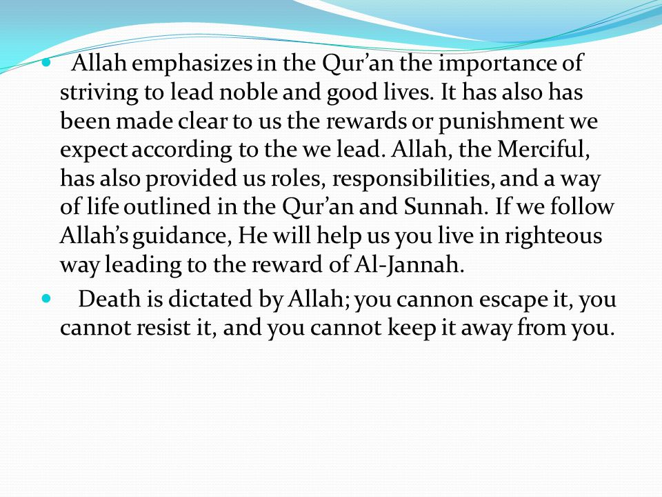 Allah emphasizes in the Qur'an the importance of striving to lead noble and good lives. It has also has been made clear to us the rewards or punishment we expect according to the we lead. Allah, the Merciful, has also provided us roles, responsibilities, and a way of life outlined in the Qur'an and Sunnah. If we follow Allah's guidance, He will help us you live in righteous way leading to the reward of Al-Jannah.
