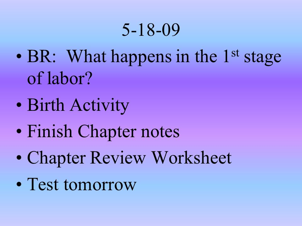 5-18-09 BR: What happens in the 1st stage of labor Birth Activity. Finish Chapter notes. Chapter Review Worksheet.