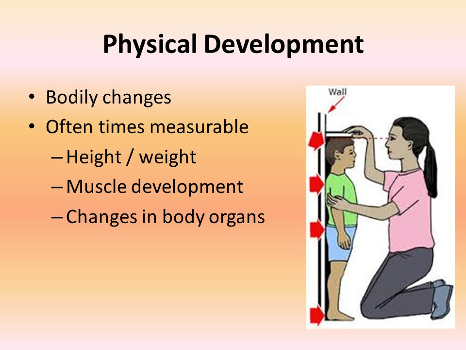 Physical Development Bodily changes Often times measurable