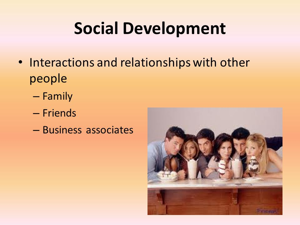 Social Development Interactions and relationships with other people