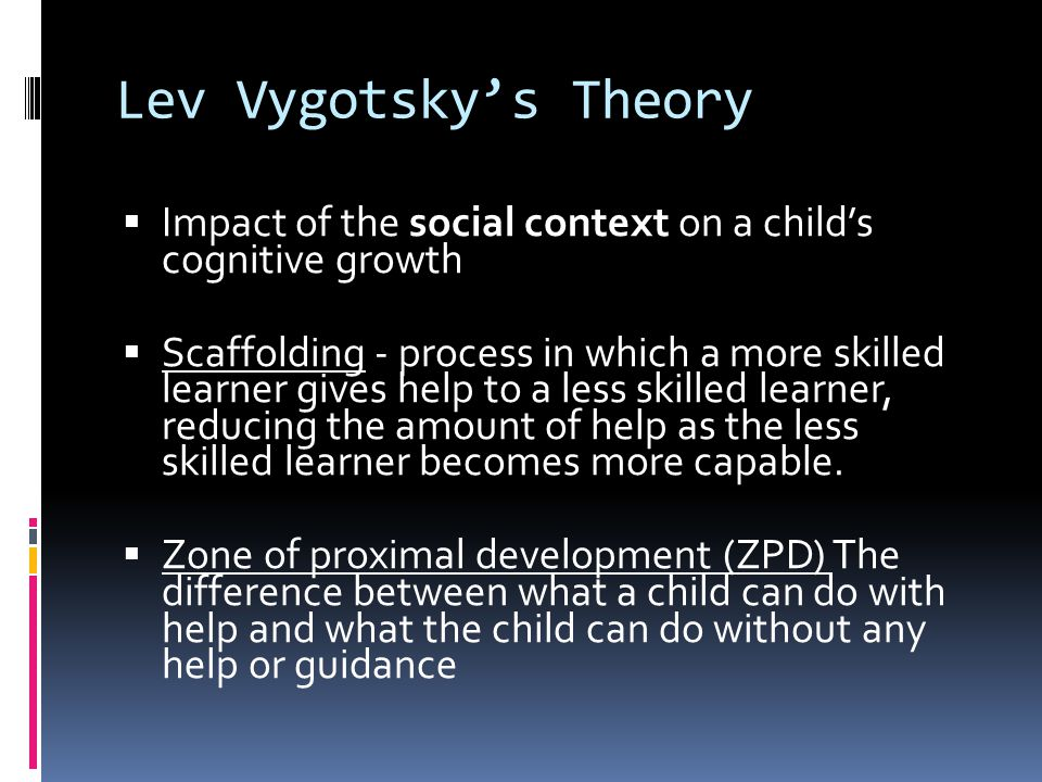 Lev Vygotsky's Theory Impact of the social context on a child's cognitive growth.