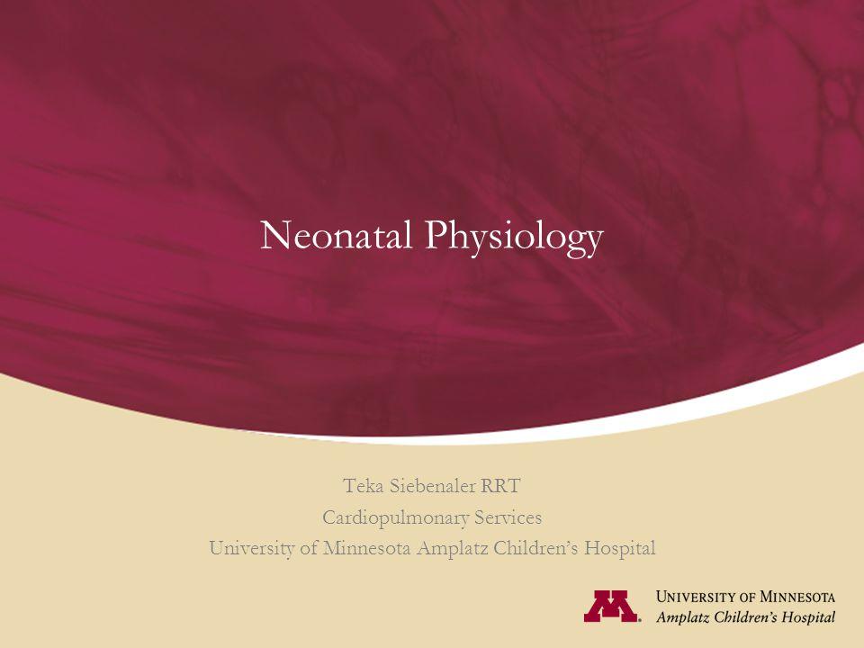 Neonatal Physiology Teka Siebenaler RRT Cardiopulmonary Services