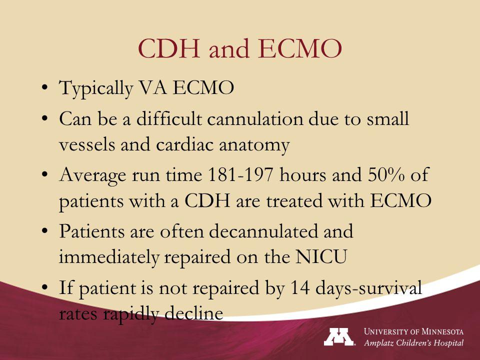 CDH and ECMO Typically VA ECMO