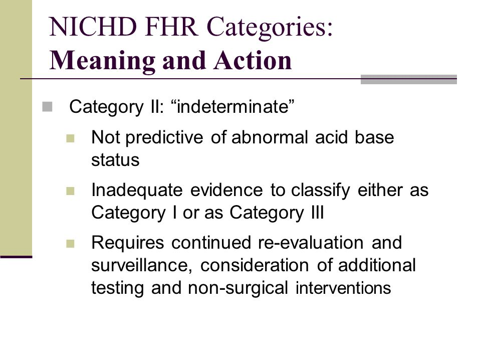 NICHD FHR Categories: Meaning and Action