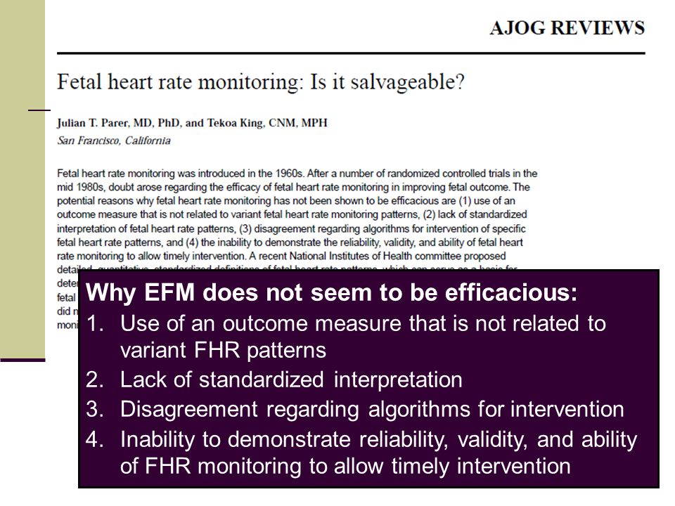 Why EFM does not seem to be efficacious: