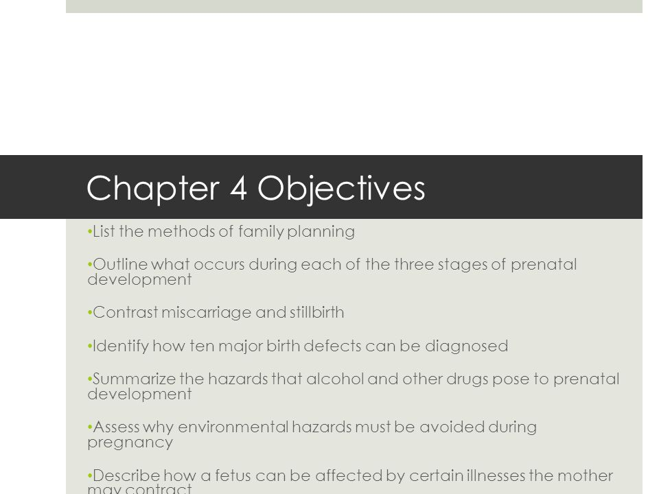 Chapter 4 Objectives List the methods of family planning