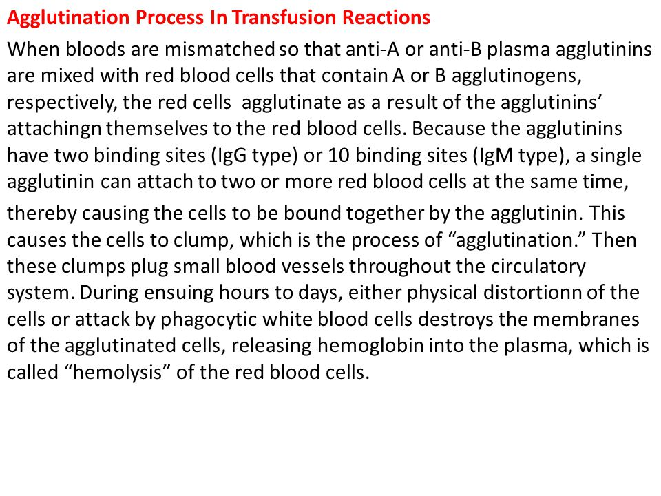 Agglutination Process In Transfusion Reactions