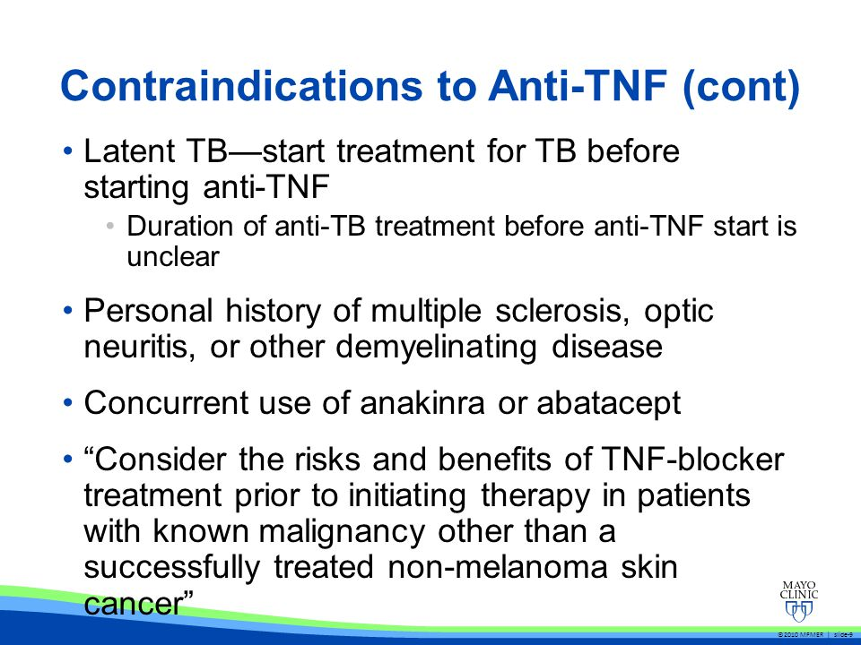 Contraindications to Anti-TNF (cont)