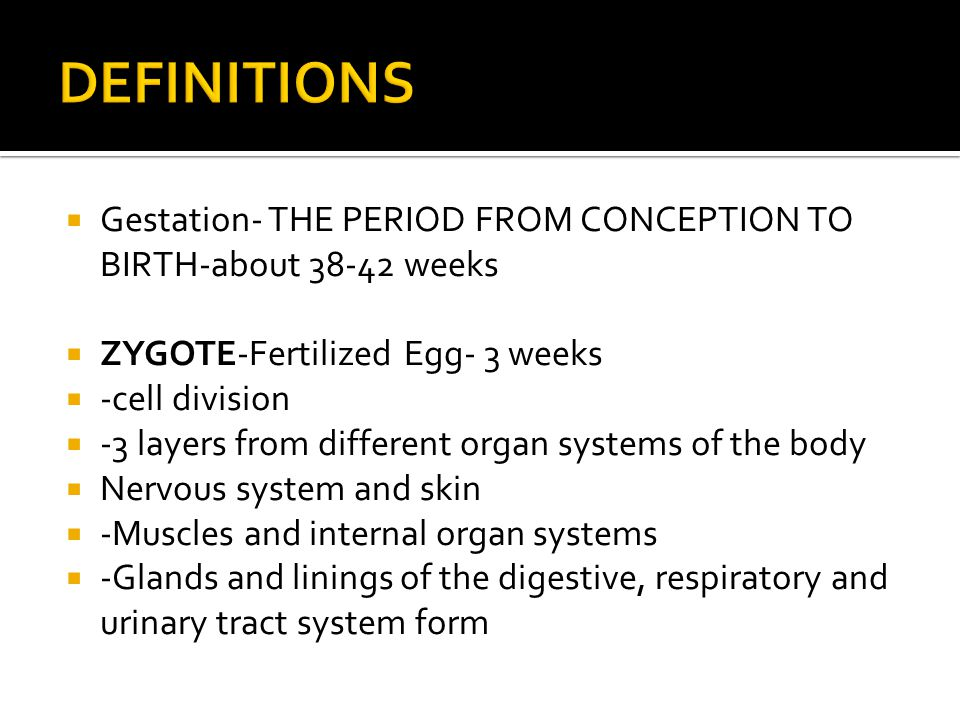 DEFINITIONS Gestation- THE PERIOD FROM CONCEPTION TO BIRTH-about 38-42 weeks. ZYGOTE-Fertilized Egg- 3 weeks.