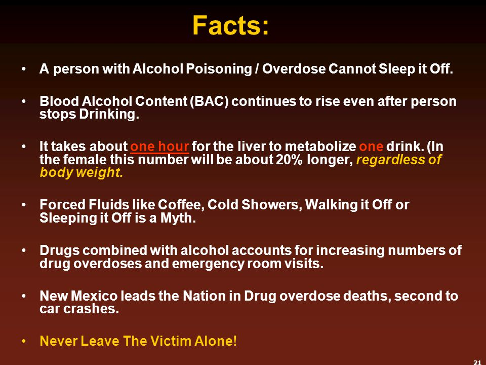 Facts: A person with Alcohol Poisoning / Overdose Cannot Sleep it Off.