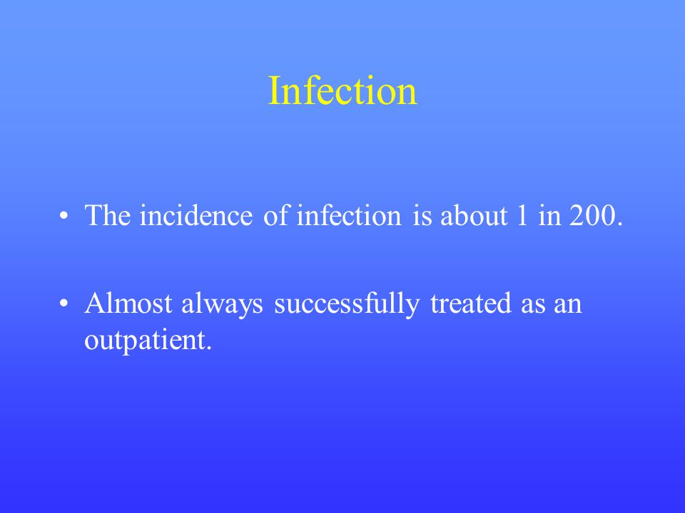 Infection The incidence of infection is about 1 in 200.