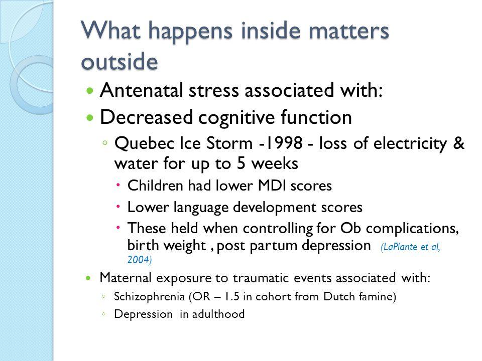What happens inside matters outside