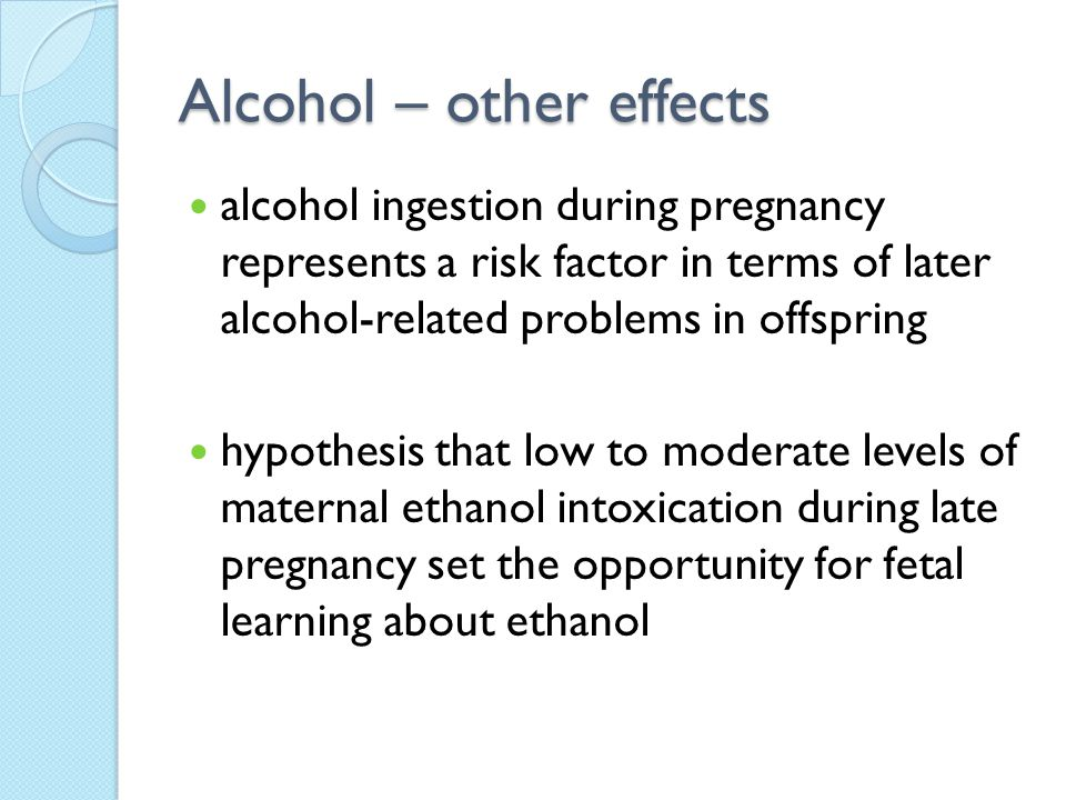 Alcohol – other effects