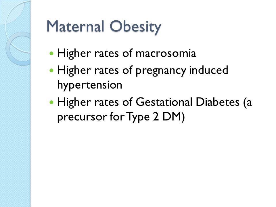 Maternal Obesity Higher rates of macrosomia
