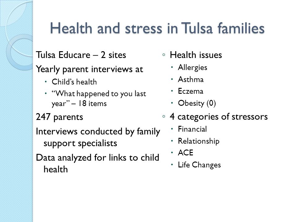 Health and stress in Tulsa families