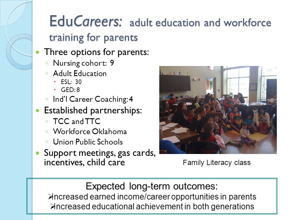 EduCareers: adult education and workforce training for parents