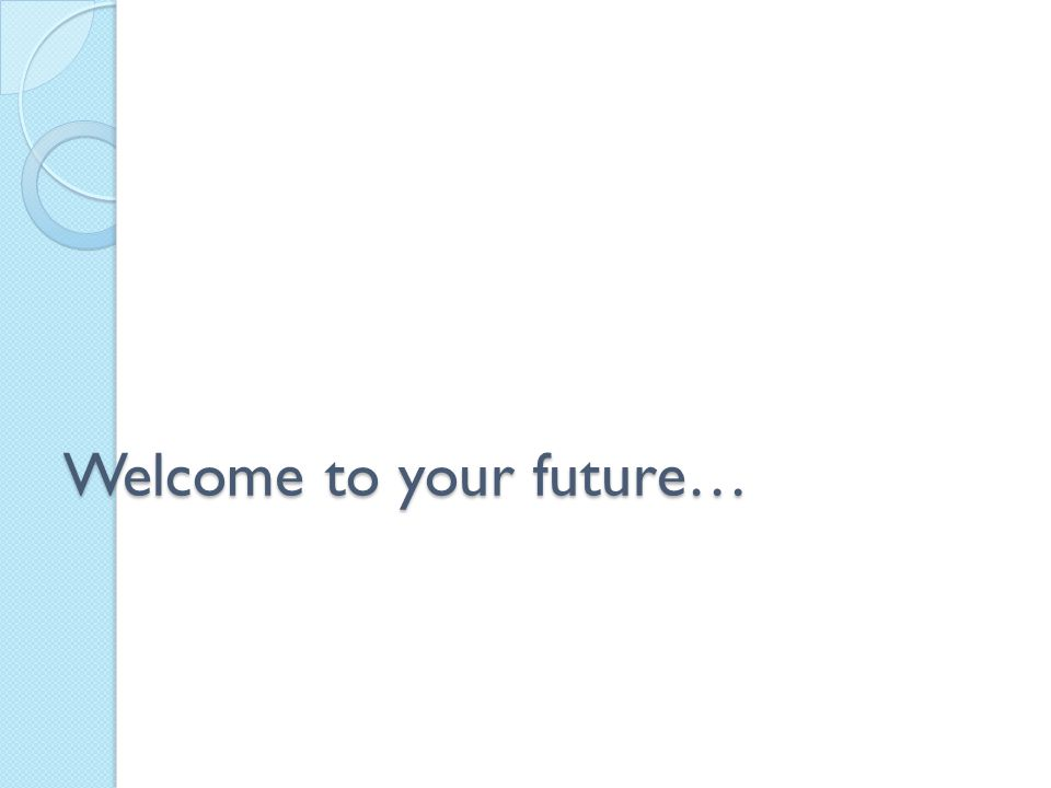 Welcome to your future…