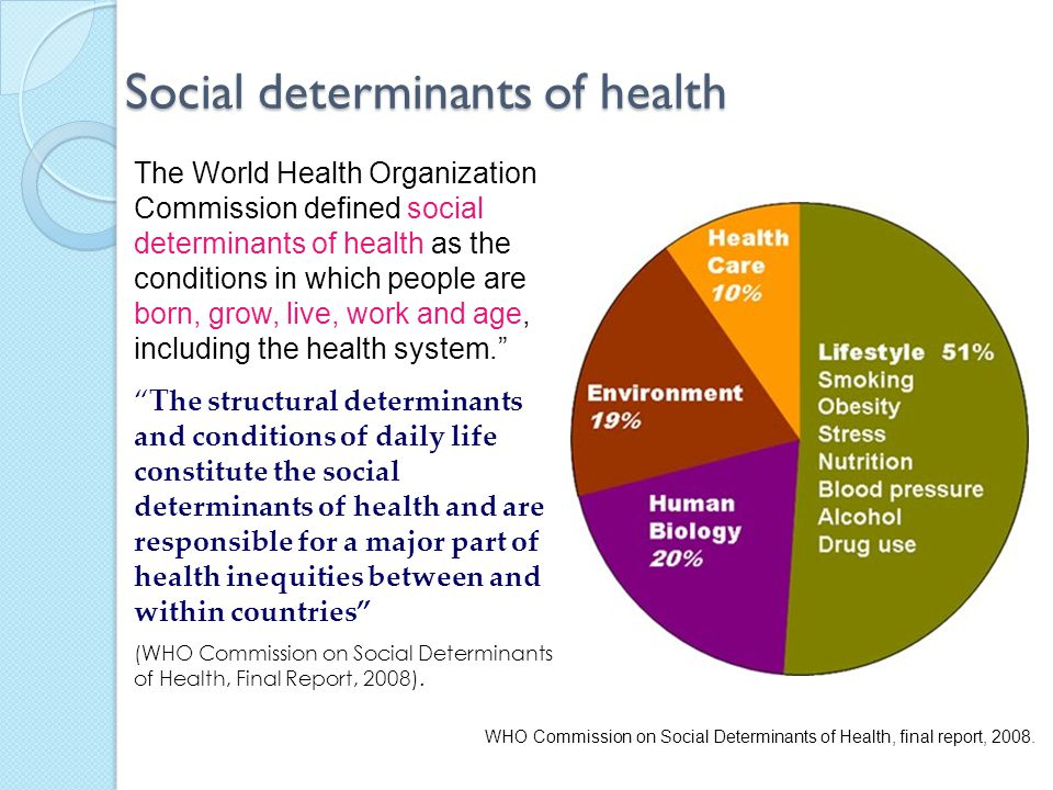 determinants of health The social determinants of health are responsible for health inequalities for reducing health inequalities and improving health status of people,.