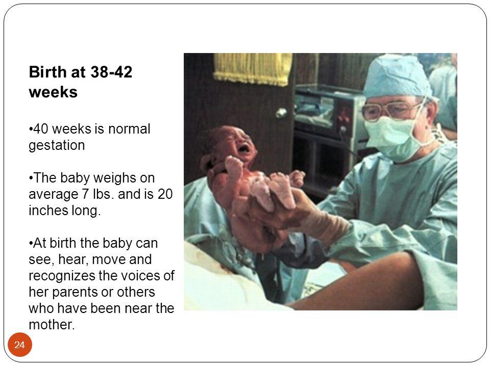 Birth at 38-42 weeks 40 weeks is normal gestation
