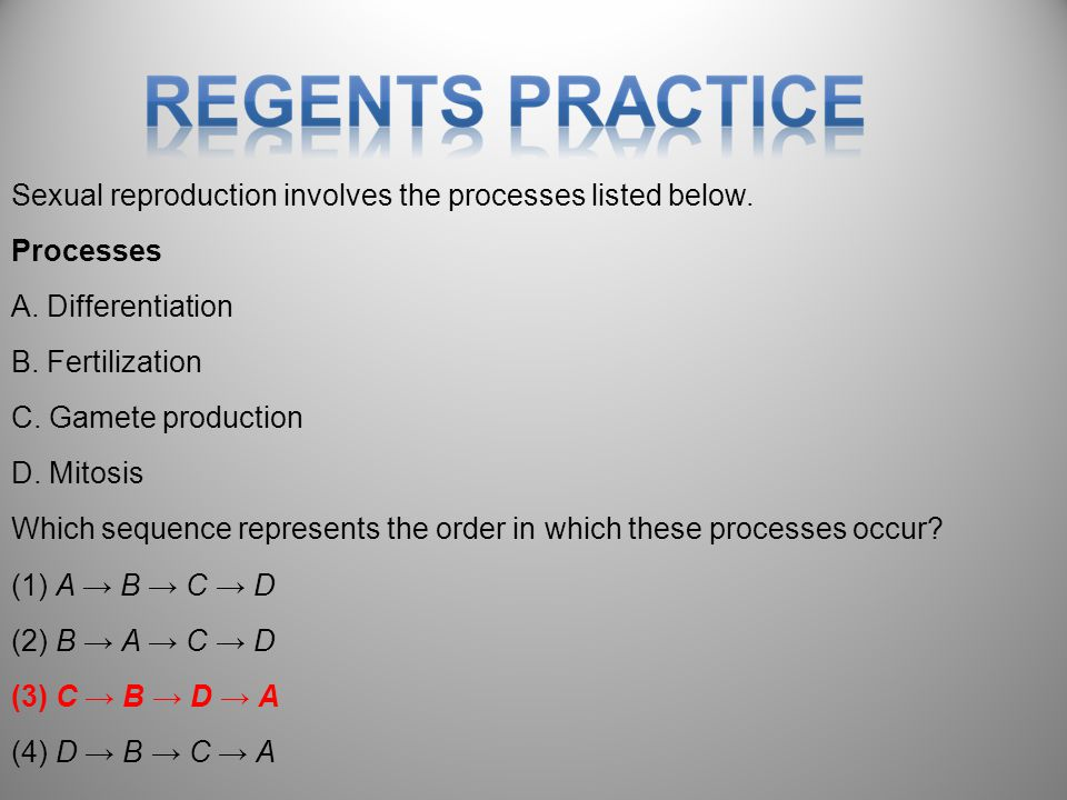 Sexual reproduction involves the processes listed below.