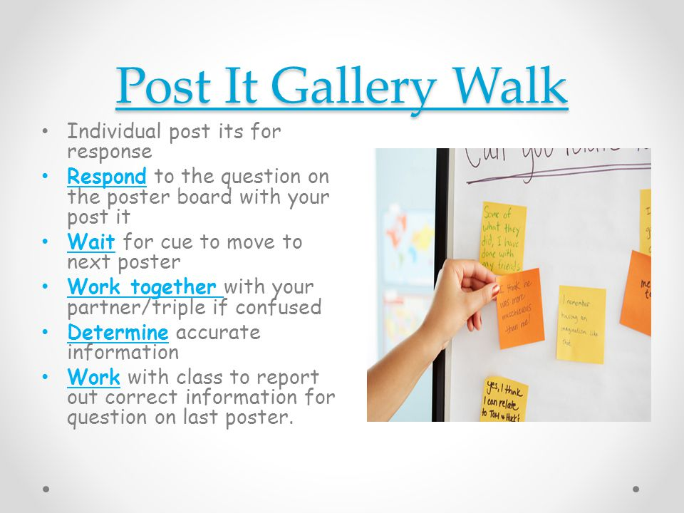 Post It Gallery Walk Individual post its for response