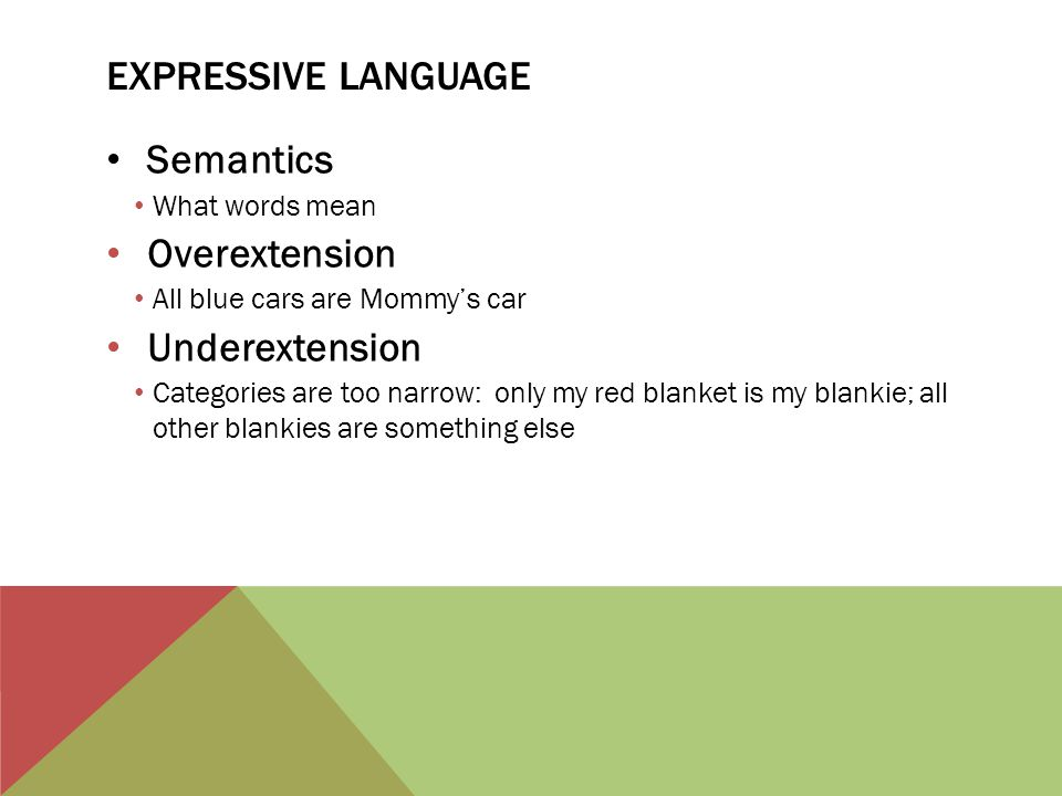 Expressive language Semantics Overextension Underextension