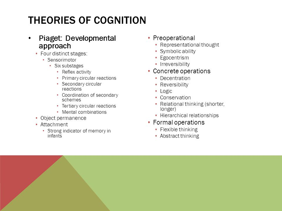Theories of cognition Piaget: Developmental approach Preoperational