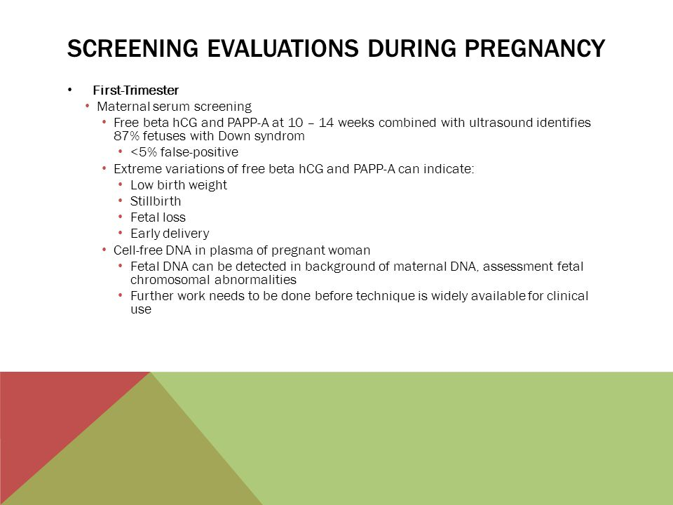 Screening evaluations during pregnancy
