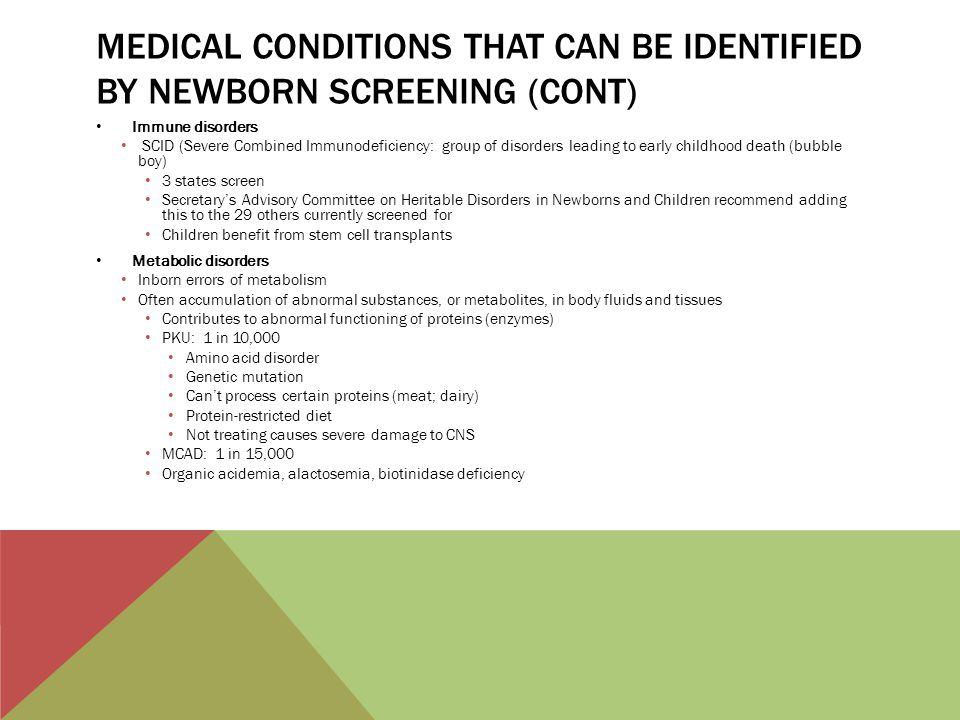 Medical conditions that can be identified by newborn screening (cont)