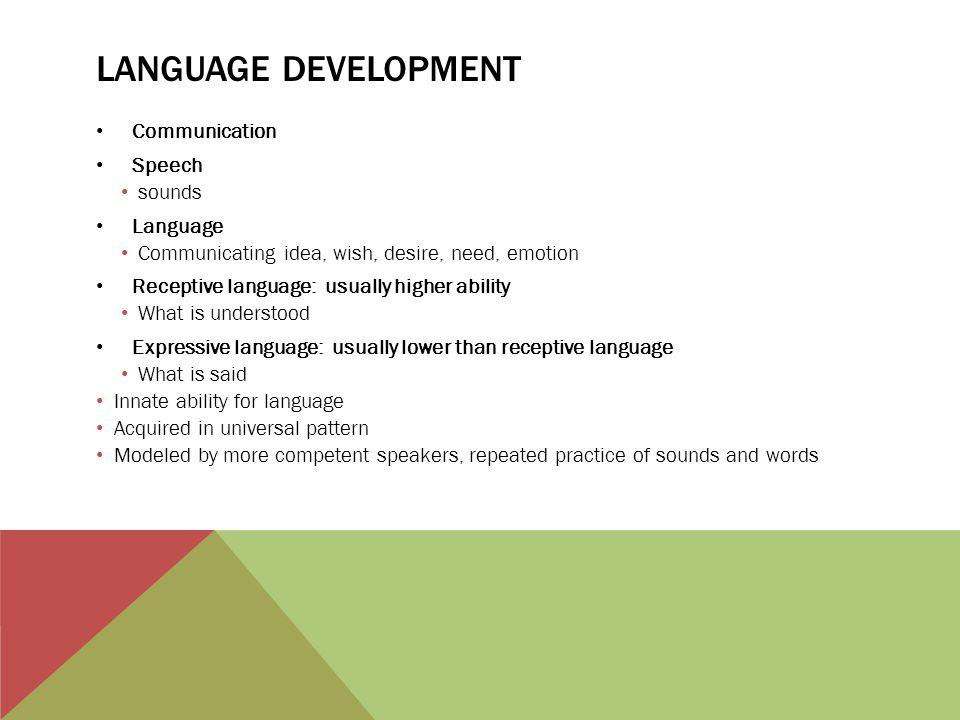 Language Development Communication Speech sounds Language