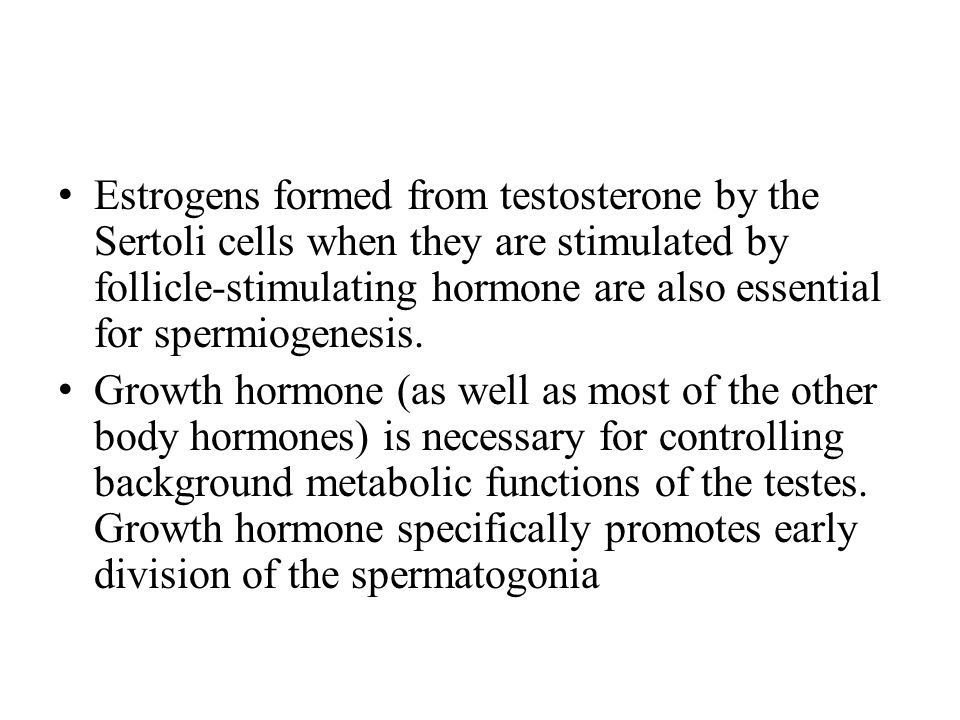 Estrogens formed from testosterone by the Sertoli cells when they are stimulated by follicle-stimulating hormone are also essential for spermiogenesis.