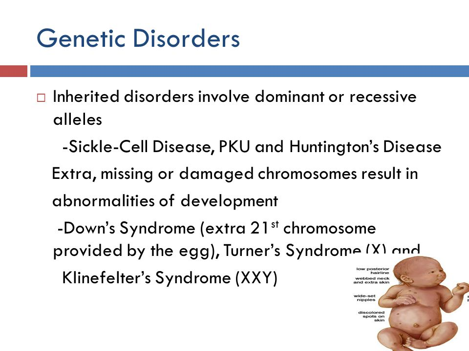 Genetic Disorders Inherited disorders involve dominant or recessive alleles. -Sickle-Cell Disease, PKU and Huntington's Disease.
