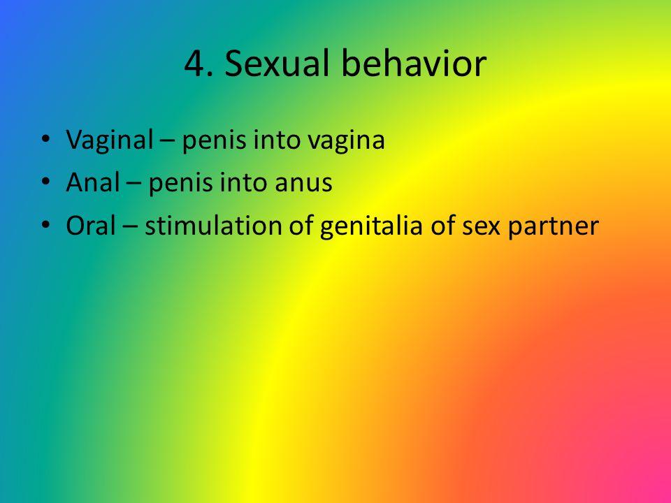 4. Sexual behavior Vaginal – penis into vagina Anal – penis into anus