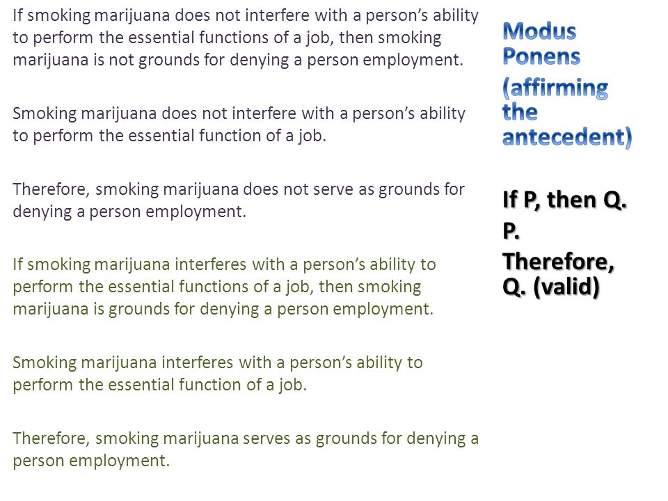 If smoking marijuana does not interfere with a person's ability to perform the essential functions of a job, then smoking marijuana is not grounds for denying a person employment.