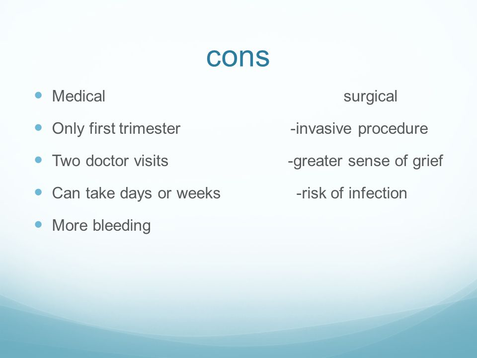 cons Medical surgical Only first trimester -invasive procedure
