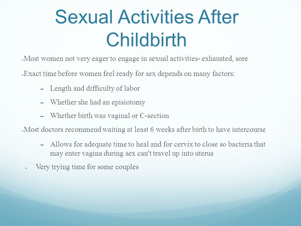 Sexual Activities After Childbirth