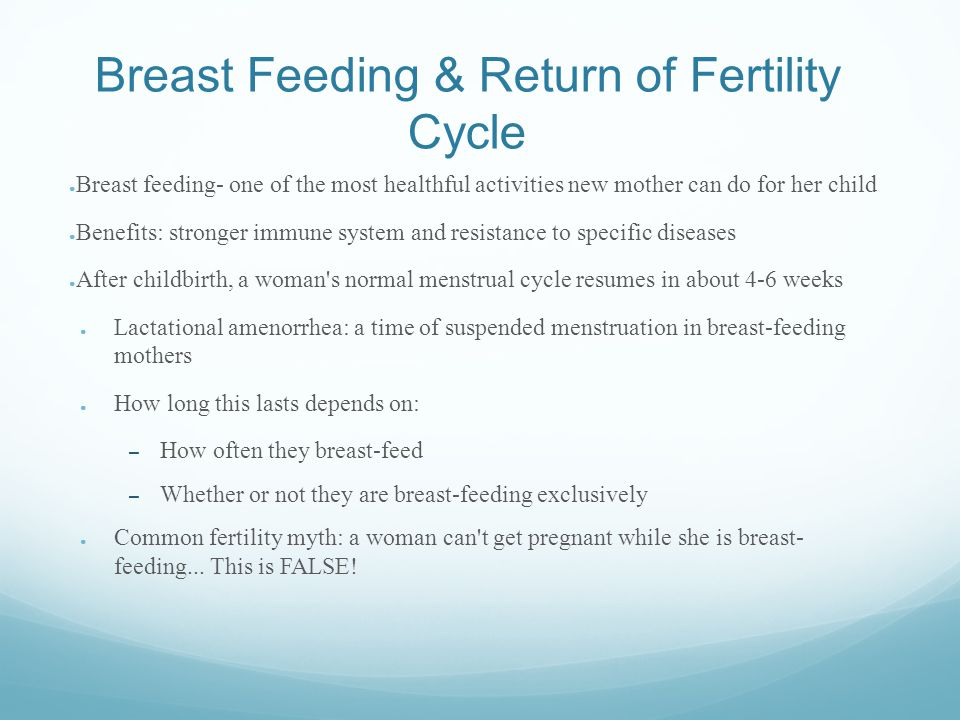 Breast Feeding & Return of Fertility Cycle