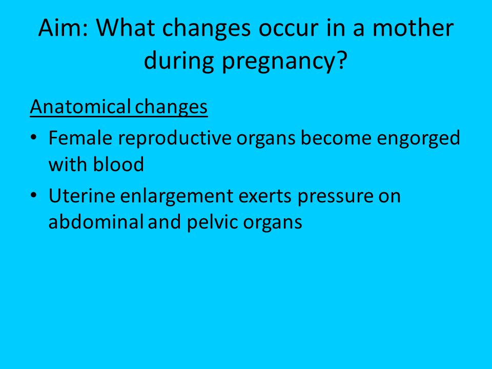 Aim: What changes occur in a mother during pregnancy