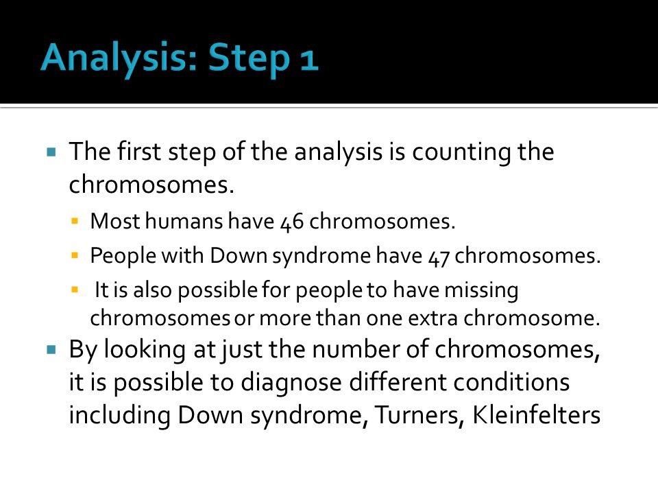 Analysis: Step 1 The first step of the analysis is counting the chromosomes. Most humans have 46 chromosomes.