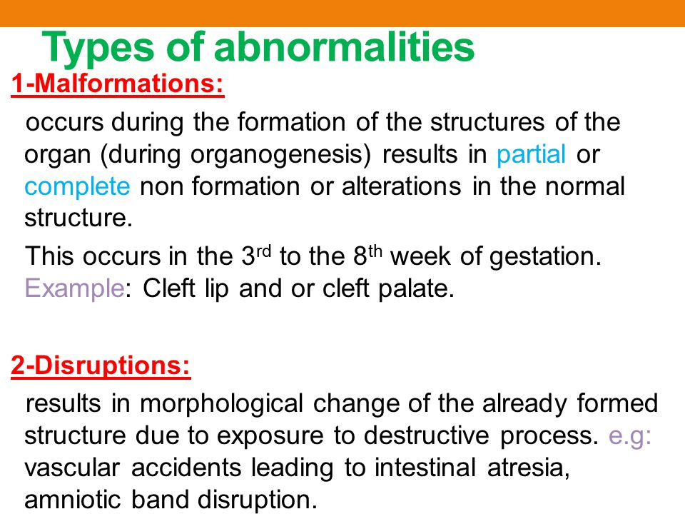 Types of abnormalities