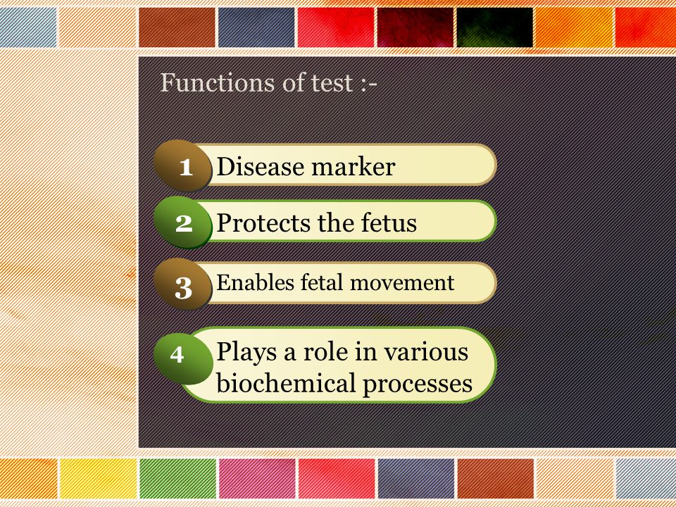 1 2 3 4 Functions of test :- Disease marker Protects the fetus