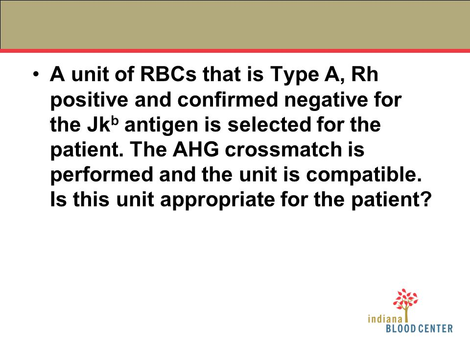 A unit of RBCs that is Type A, Rh positive and confirmed negative for the Jkb antigen is selected for the patient.