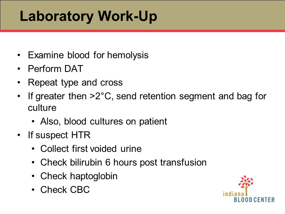 Laboratory Work-Up Examine blood for hemolysis Perform DAT