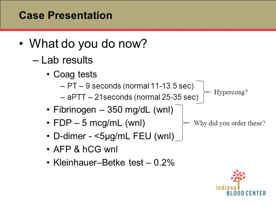 What do you do now Case Presentation Lab results Coag tests