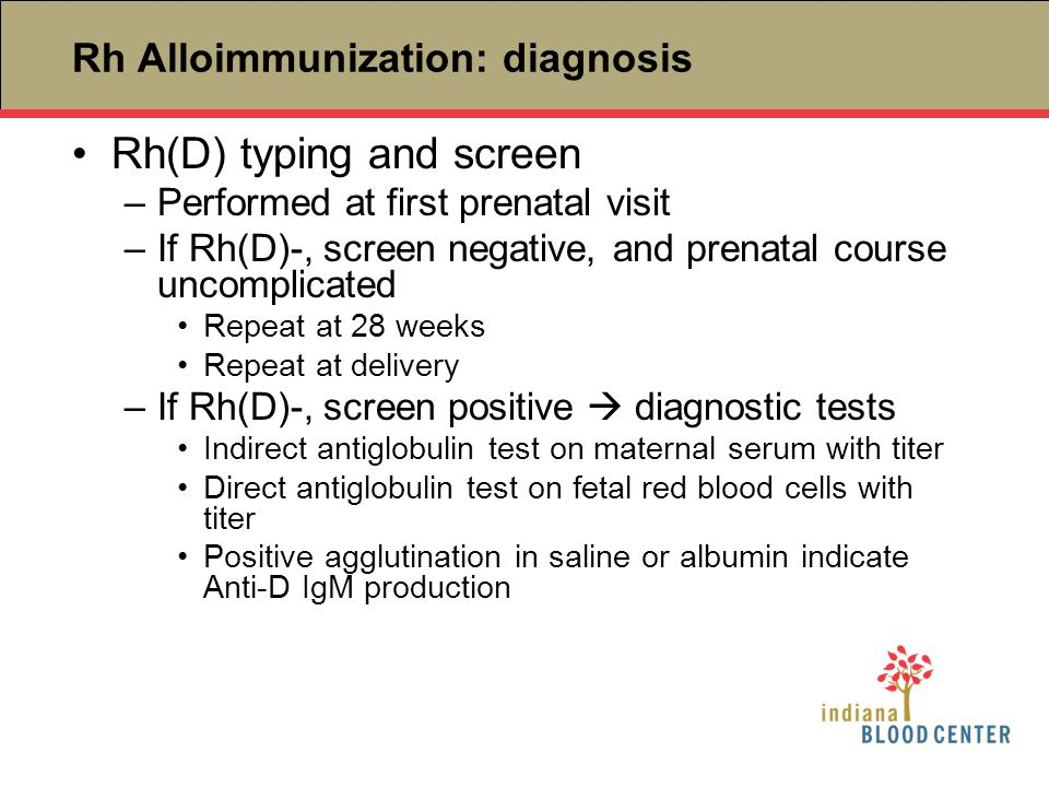 Rh Alloimmunization: diagnosis