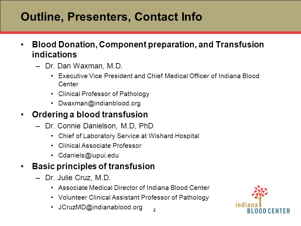 Outline, Presenters, Contact Info Blood Donation, Component preparation, and Transfusion indications.