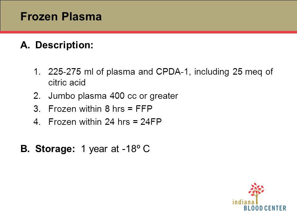 Frozen Plasma Description: Storage: 1 year at -18º C
